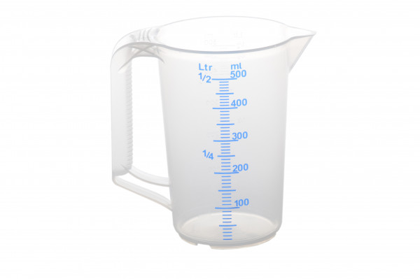 Messkanne 500 ml,PP transparent, 2 Skalen, geschlossner Griff