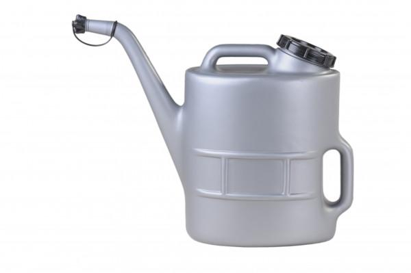 Ölkanne 13 Liter, HD-PE, silbergrau, Siebeinsatz, Schraubverschluß