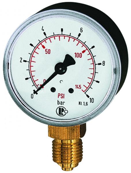 """Riegler-Manometer Kunststoffgehäuse, Durchmesser: 50mm , G 1/4""""unten, 0/10bar"""
