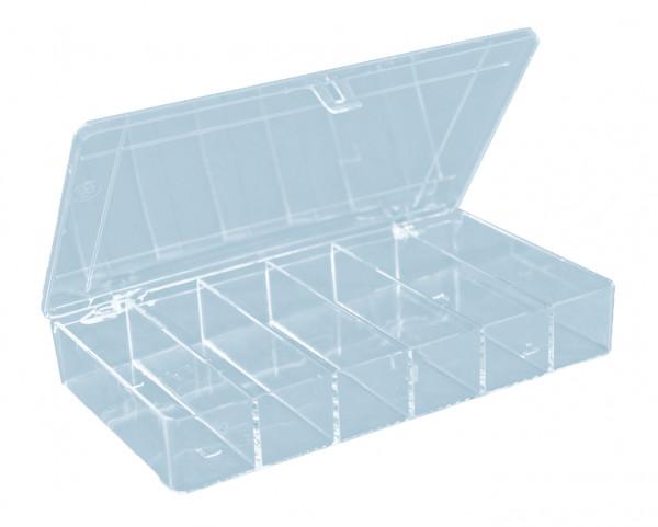 Sortimentskasten PS-Mini 6 Fächer glasklar 210 x 120 x 36 mm